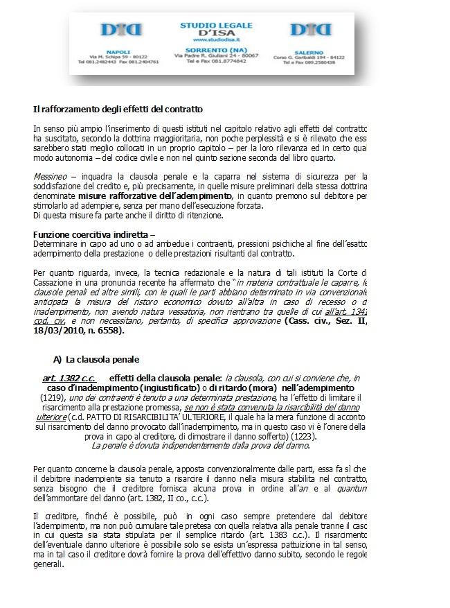 Il rafforzamento degli effetti del contratto 1 la for Contratto 3 2