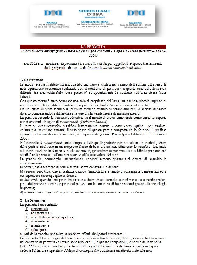 Il contratto di permuta avvocato renato d 39 isa - Compravendita immobili tra privati ...