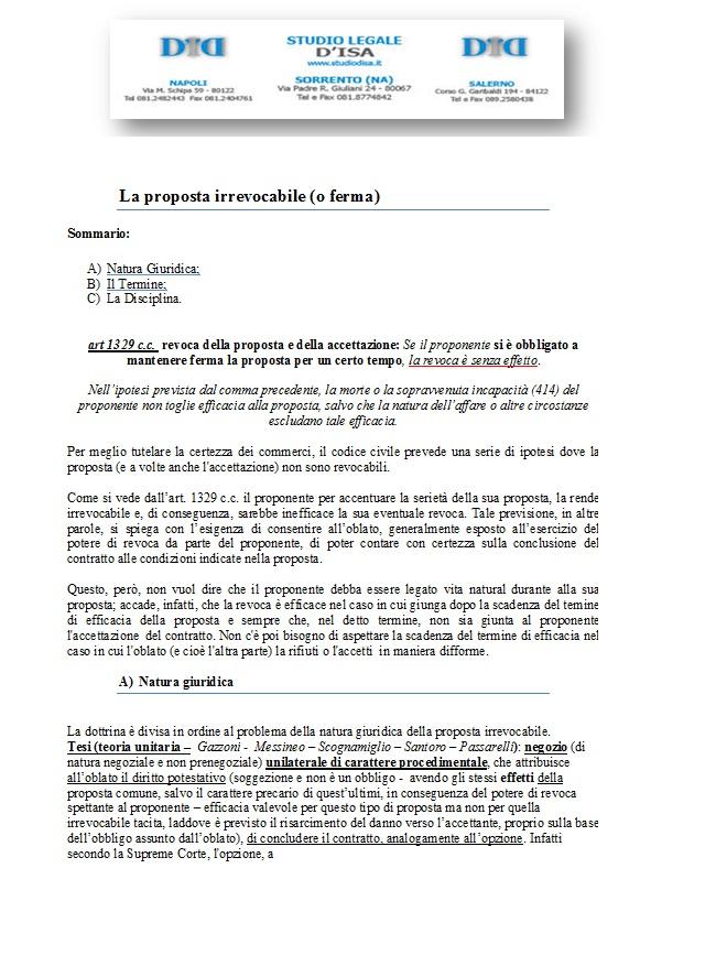 La proposta irrevocabile o ferma avvocato renato d 39 isa - Proposta di acquisto immobile ...