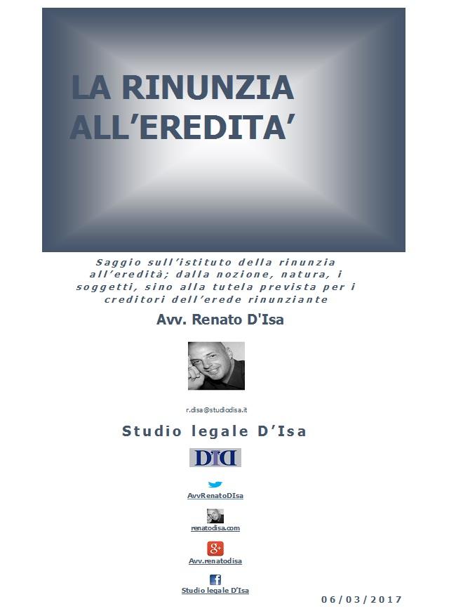 Rinunzia All Eredita Renato D Isa
